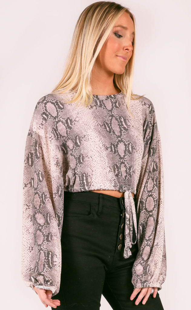 snake it off crop sweater