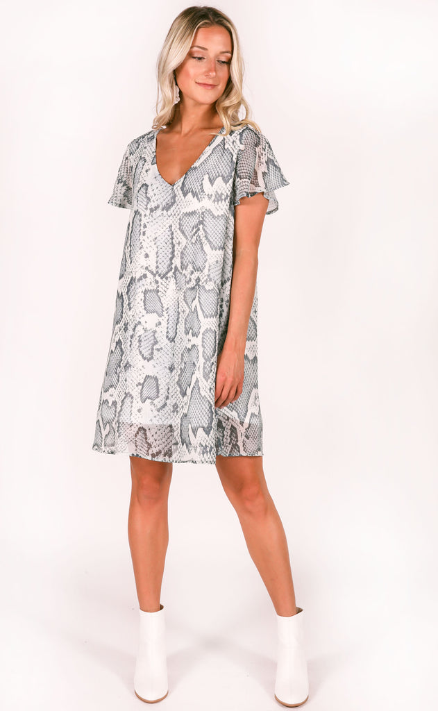 snake it simple printed dress