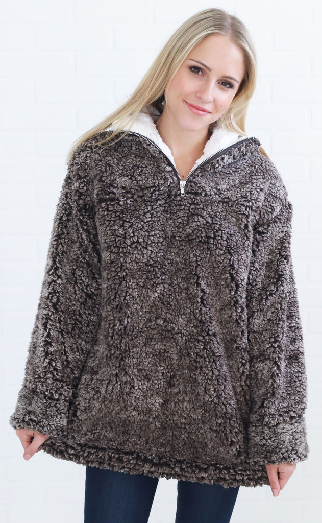 snow day pullover - brown