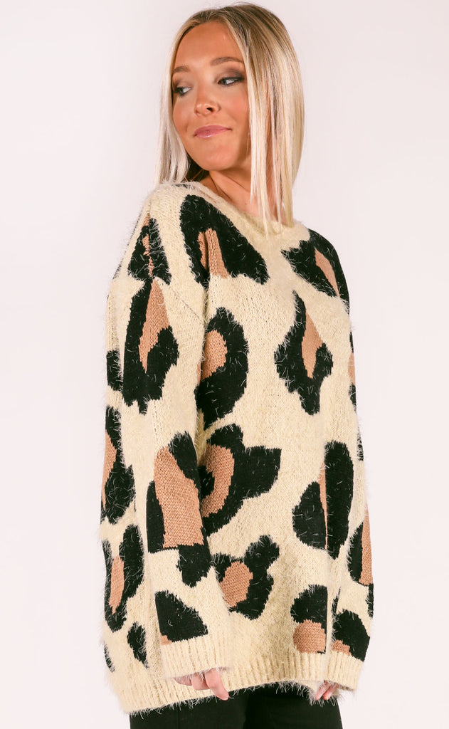 snow leopard oversized sweater