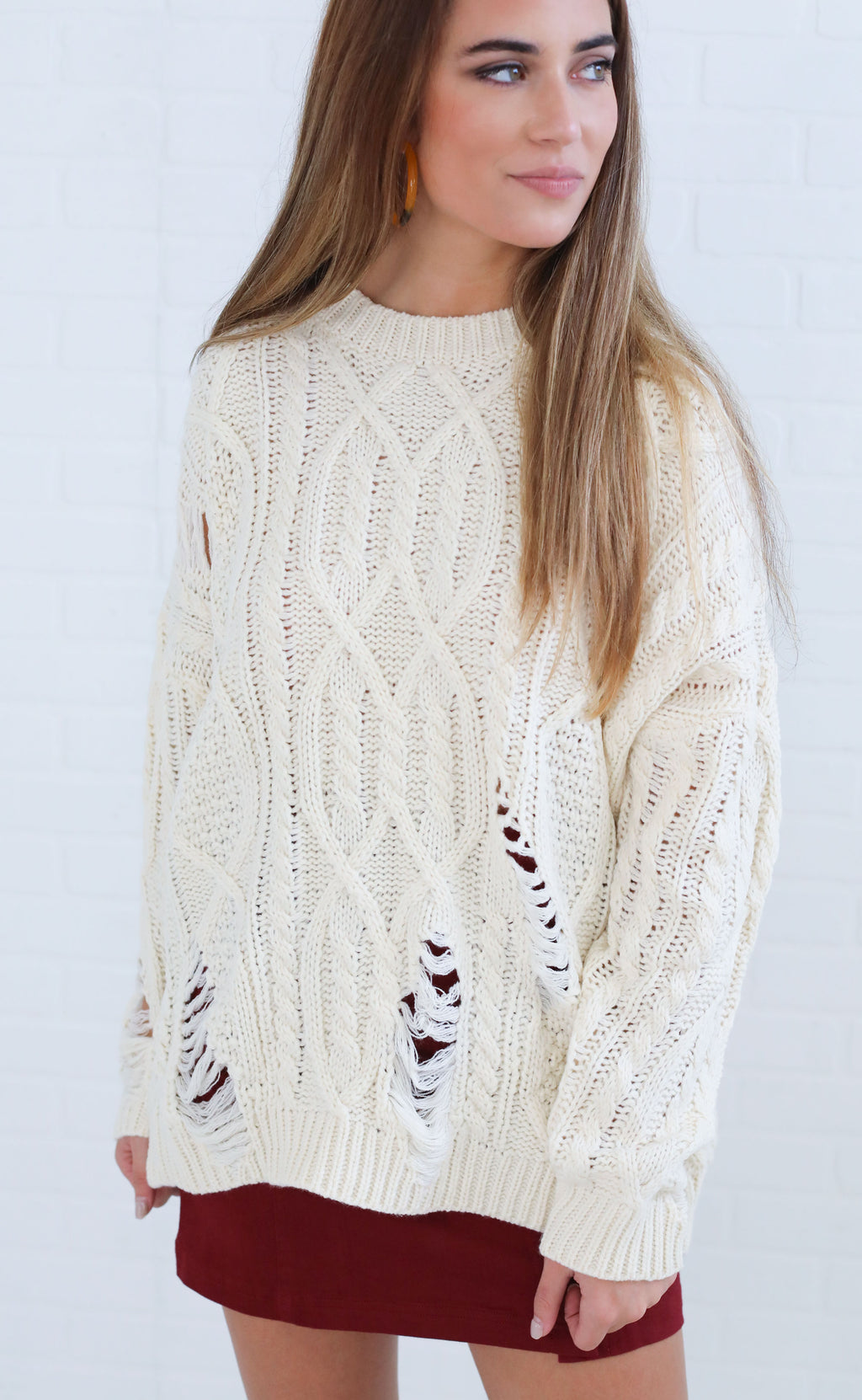 snuggle up cable knit sweater