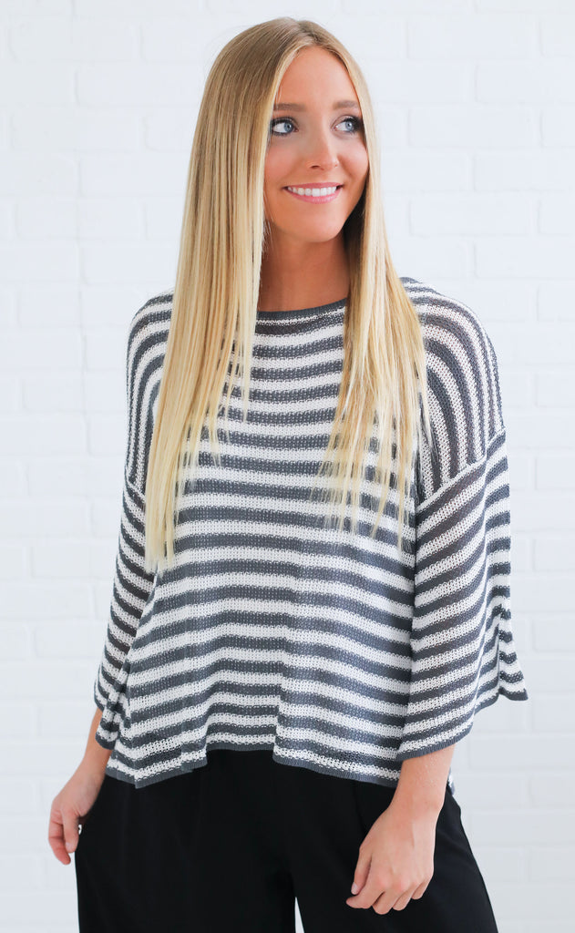 so easy striped sweater - grey
