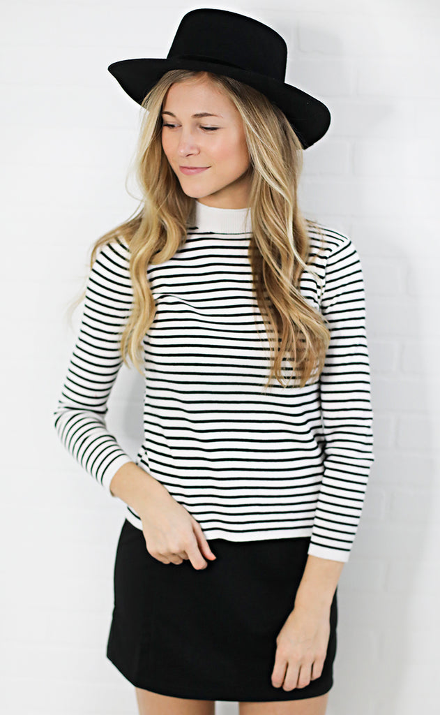 so striped mock neck sweater - ivory