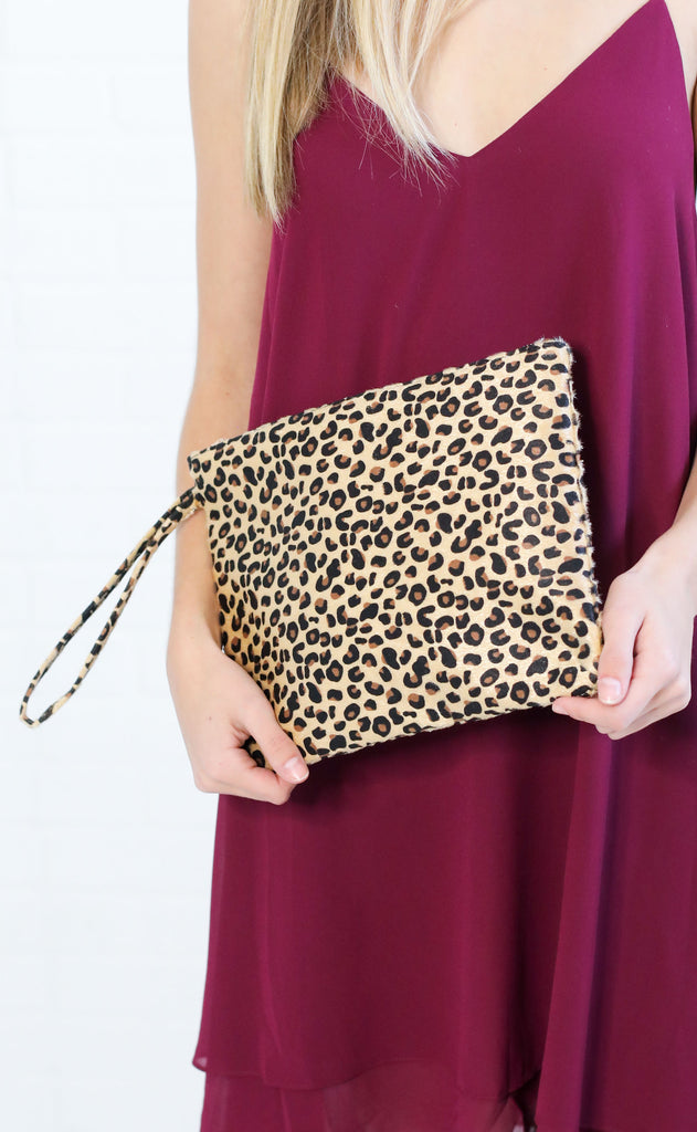 wild one fur clutch - beige