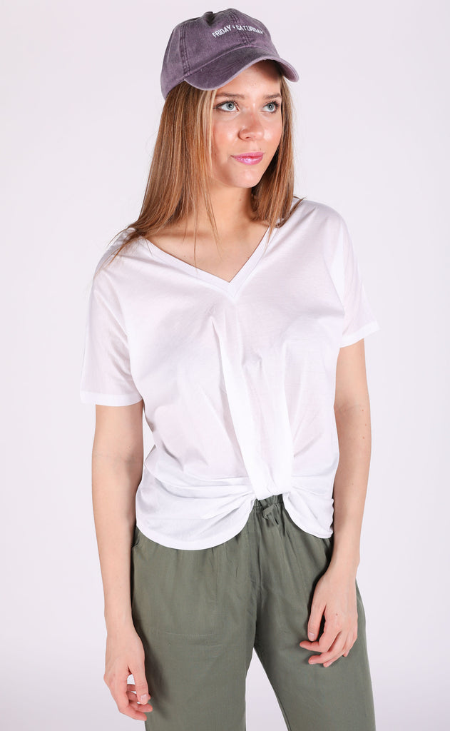 so knotty v-neck top - white