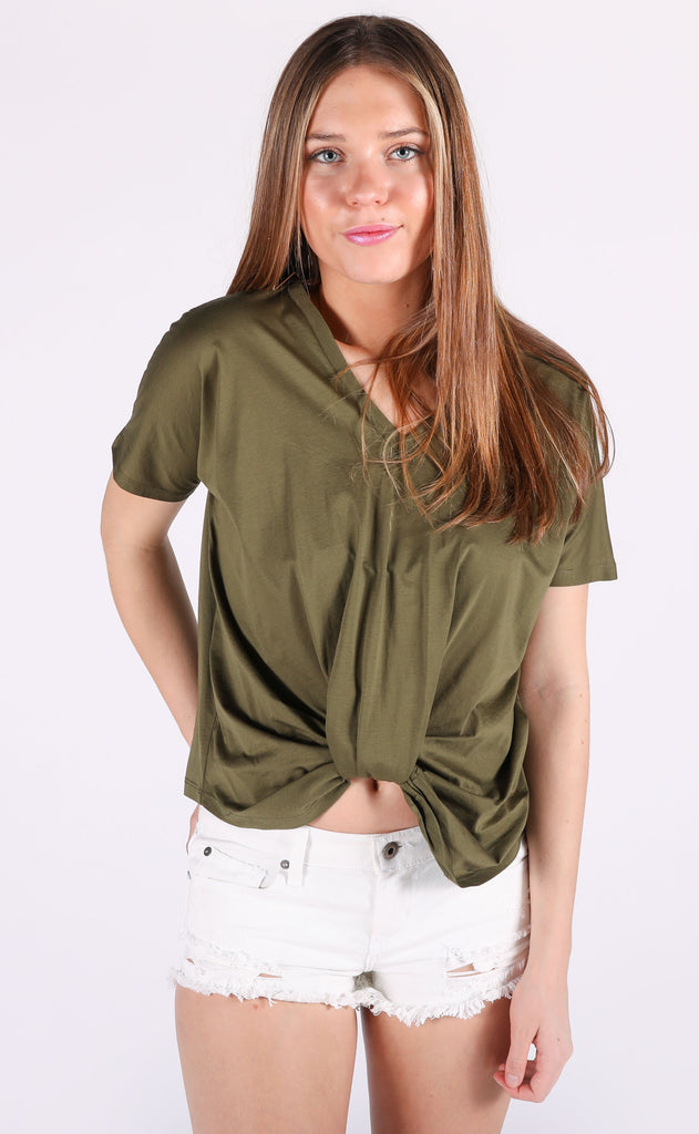 so knotty v-neck top - olive