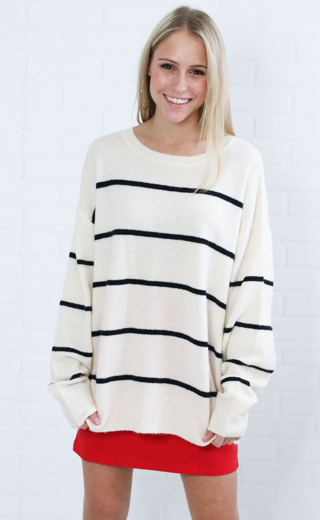 softly striped knit sweater