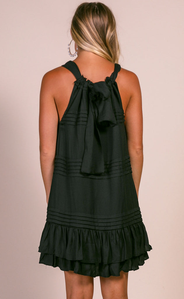 soiree pleated dress - black