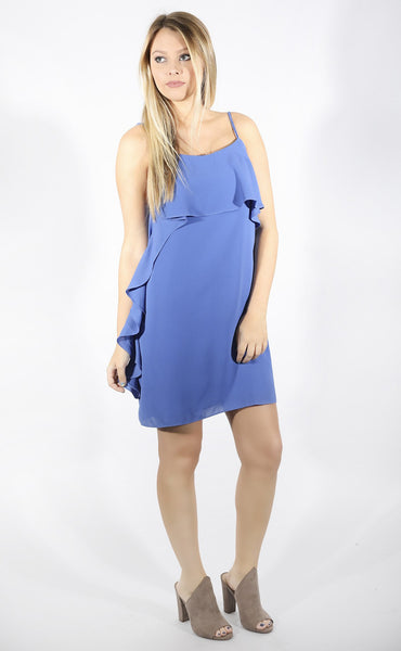solid choice ruffle dress - blue
