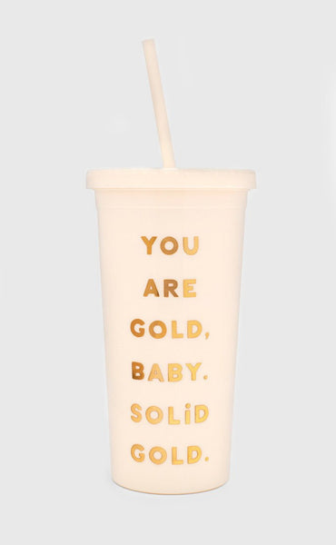 ban.do: sip sip tumbler with straw - you are gold
