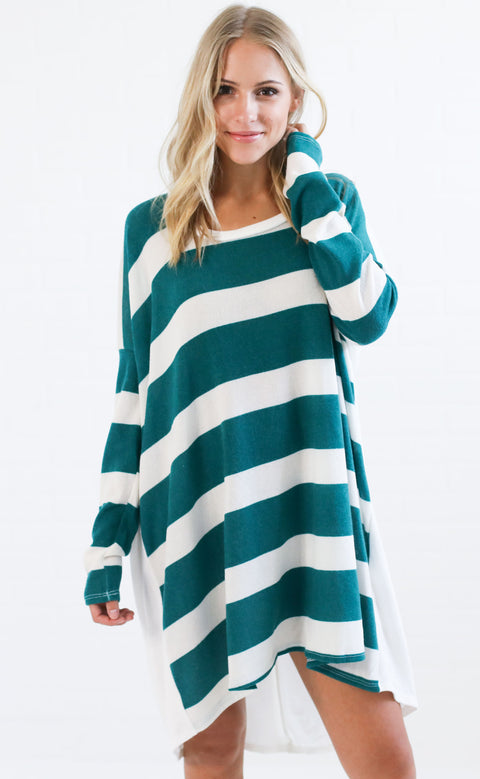 something simple striped tunic - green