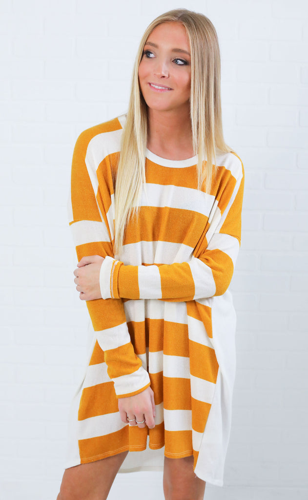 something simple striped tunic - mustard