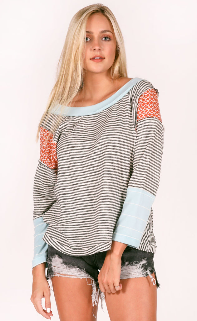something special striped top - black
