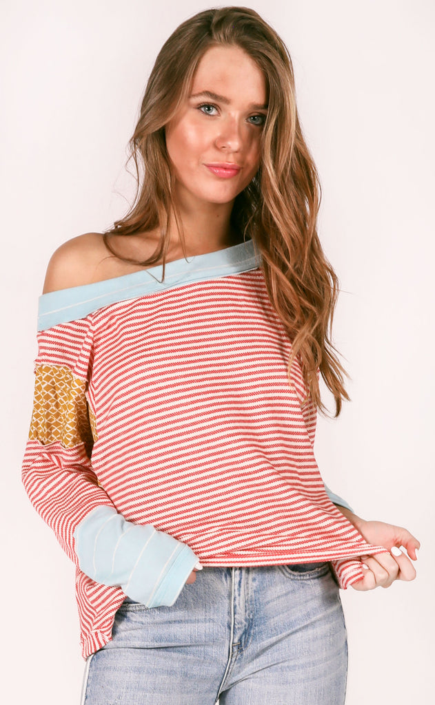 something special striped top - red
