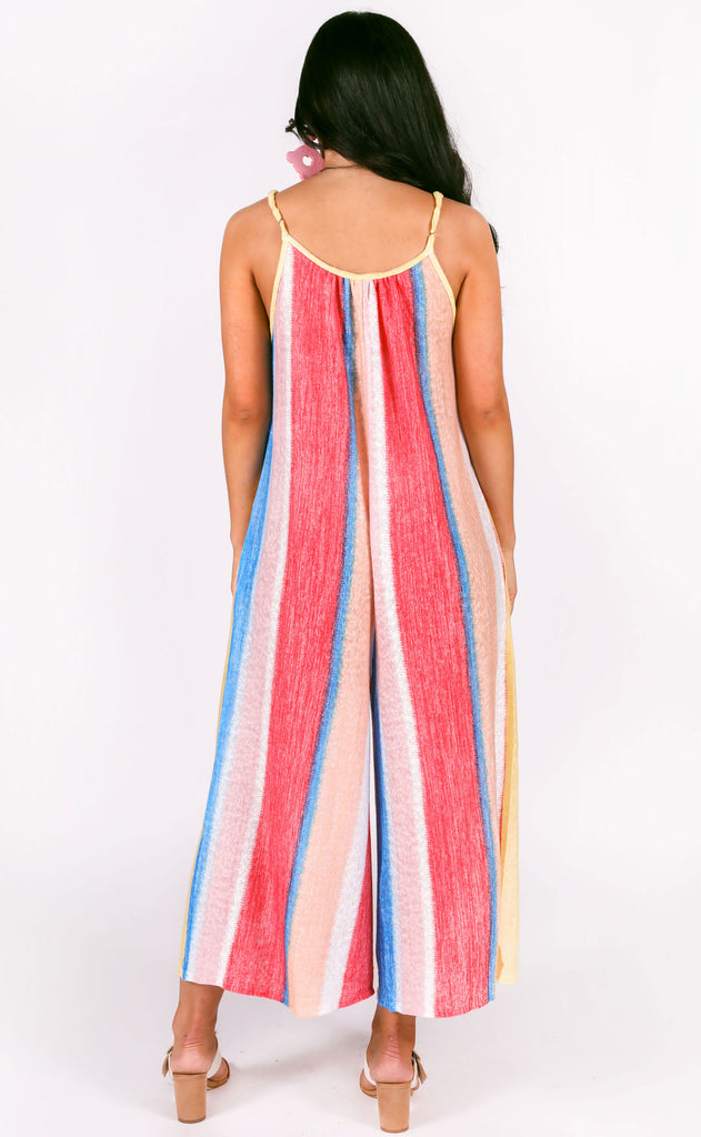 somewhere over the rainbow striped jumpsuit