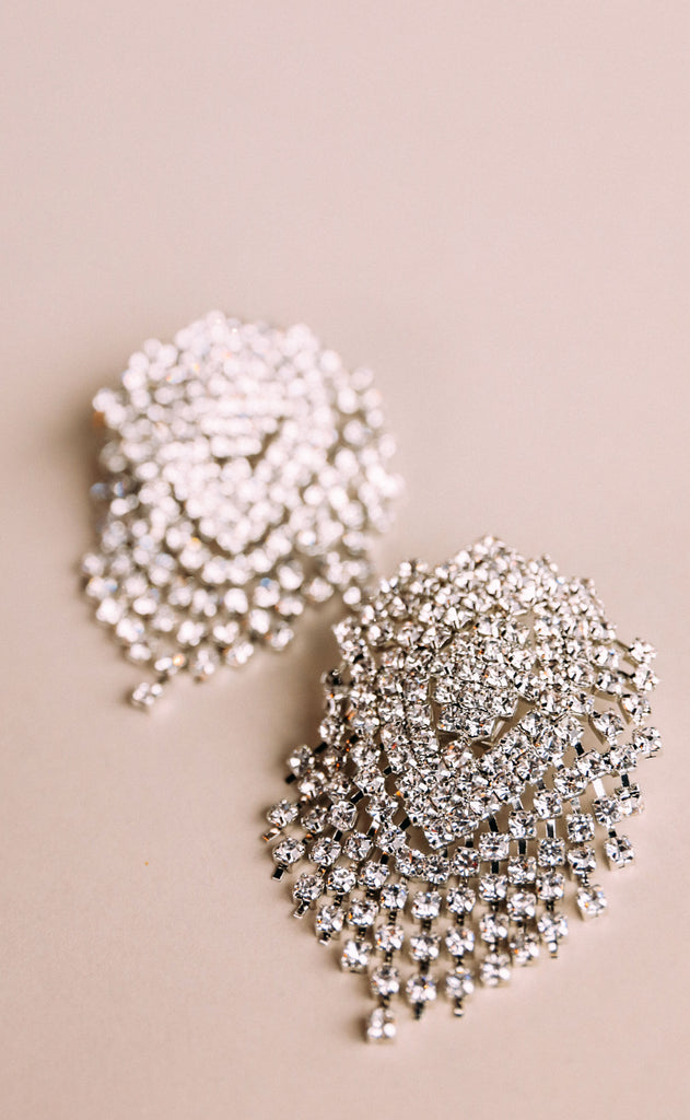 sparkle cluster statement earrings