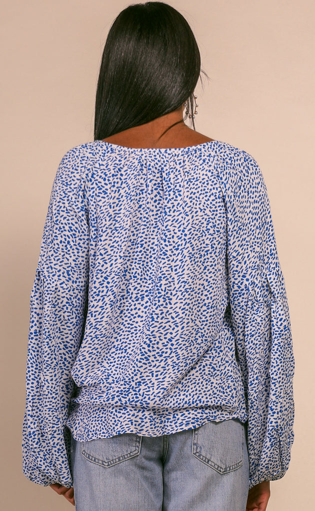 speckled peasant top - blue