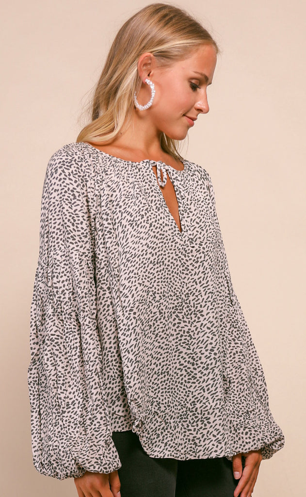 speckled peasant top - charcoal