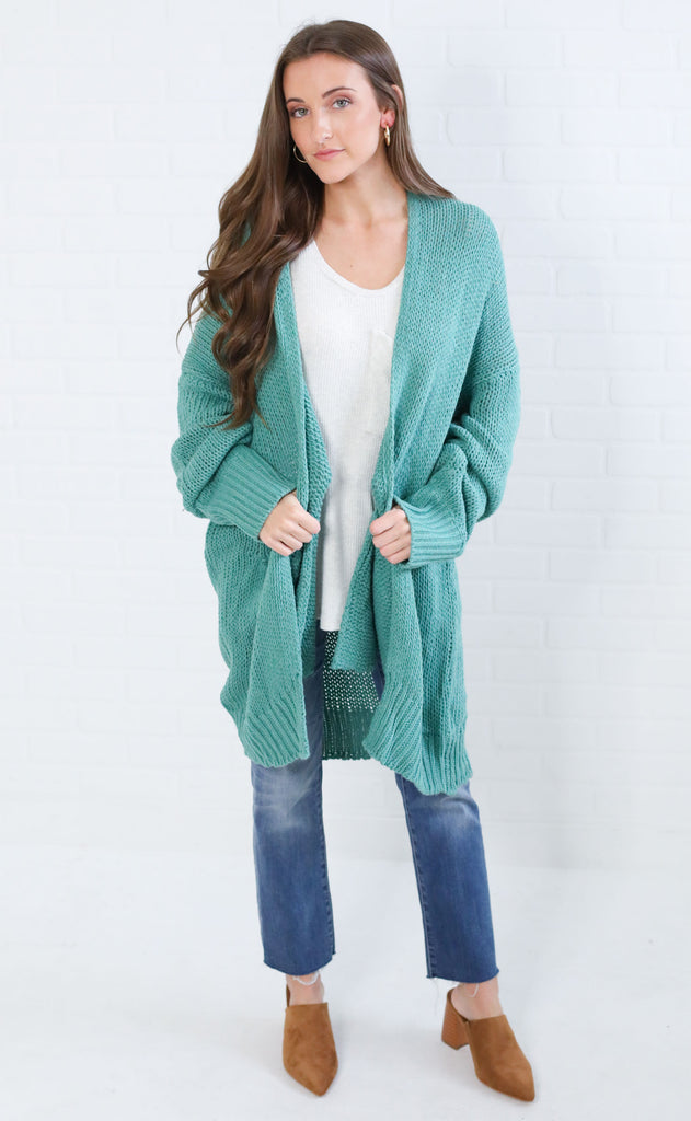 spice it up oversized cardigan - green