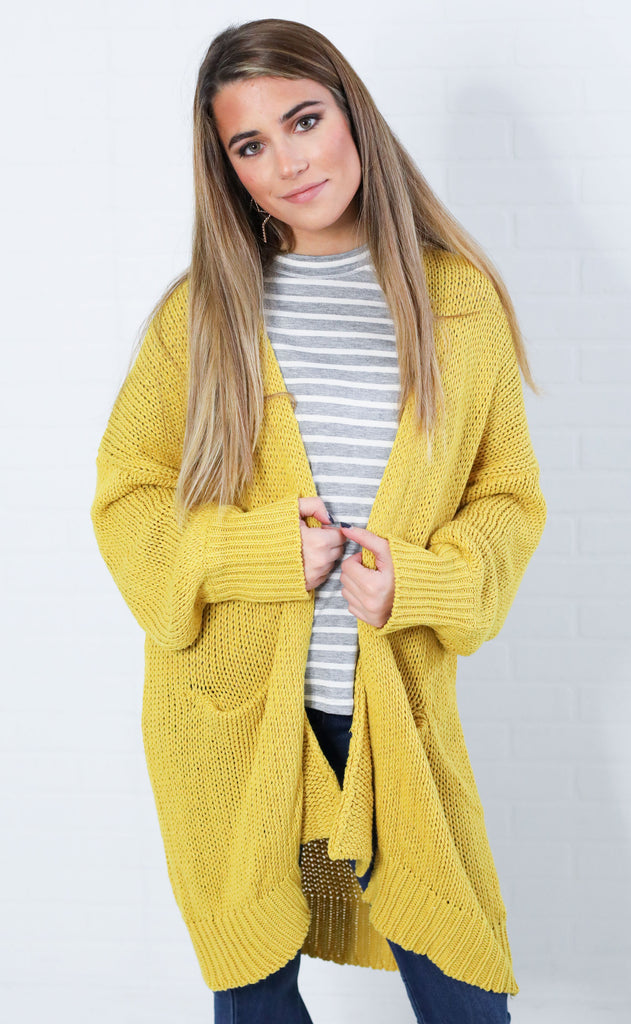 spice it up oversized cardigan - mustard