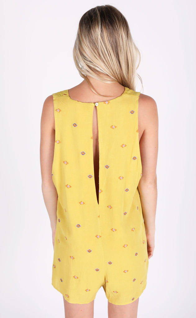 spice it up embroidered romper - lemon