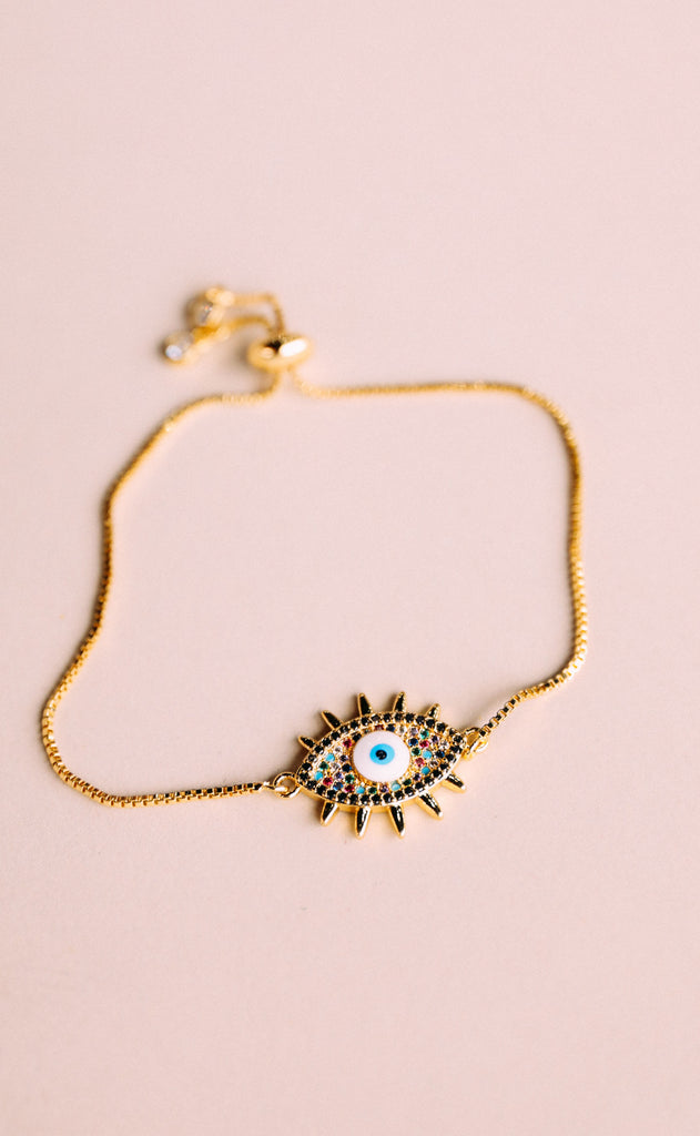layering bracelet - spiked evil eye