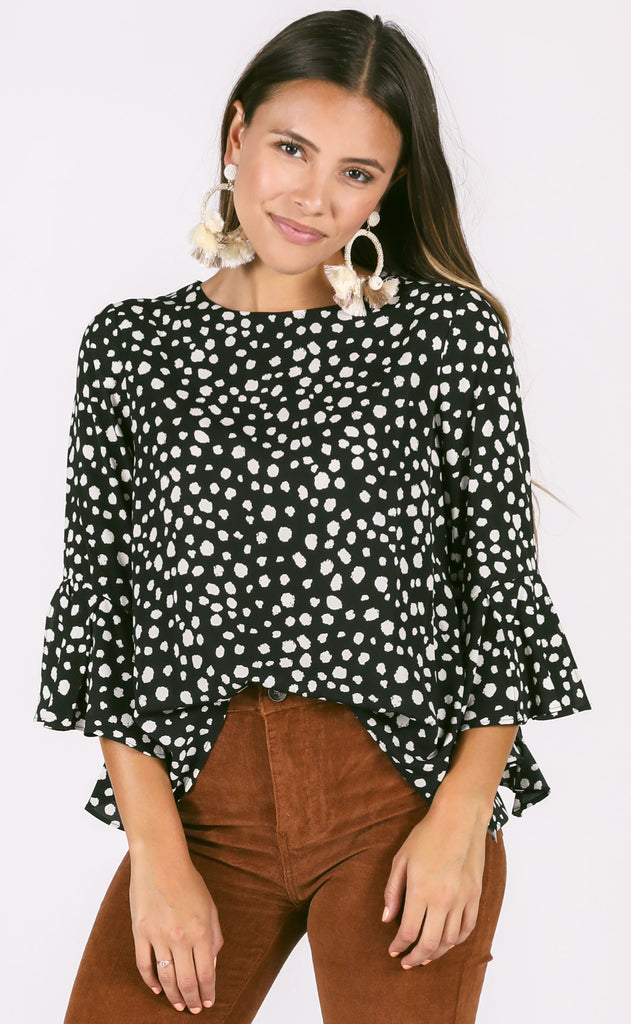 spotted printed top - black