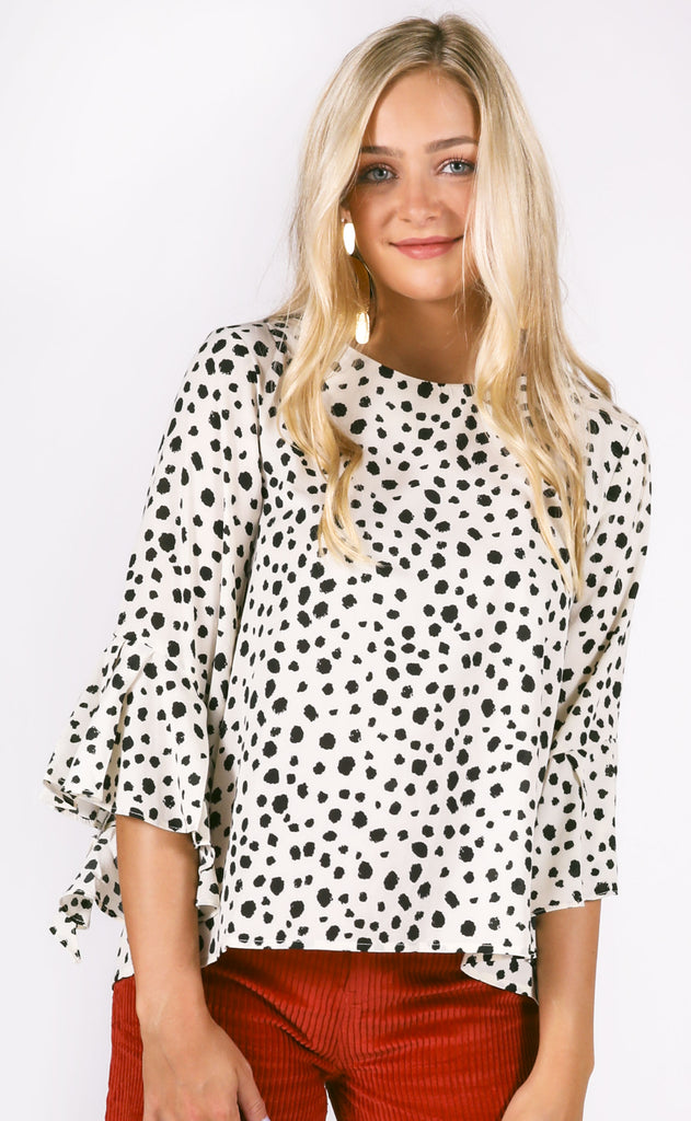 spotted printed top - ivory