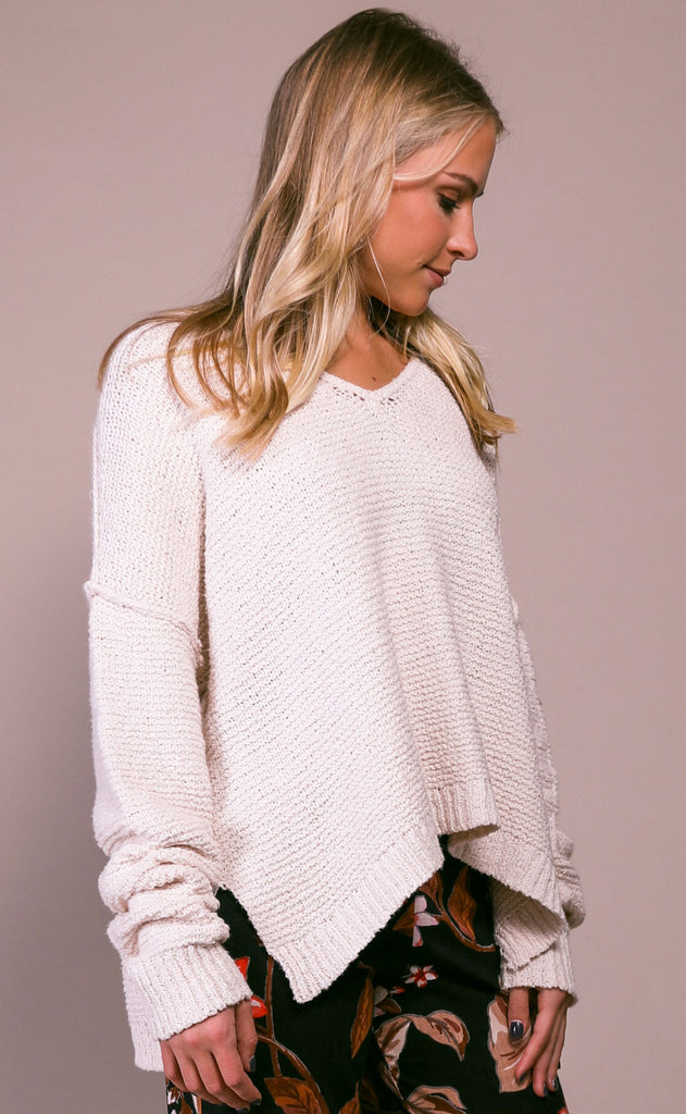 spring forward knit sweater - ivory