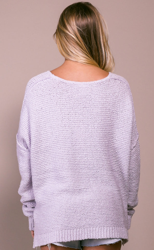 spring forward knit sweater - lavender