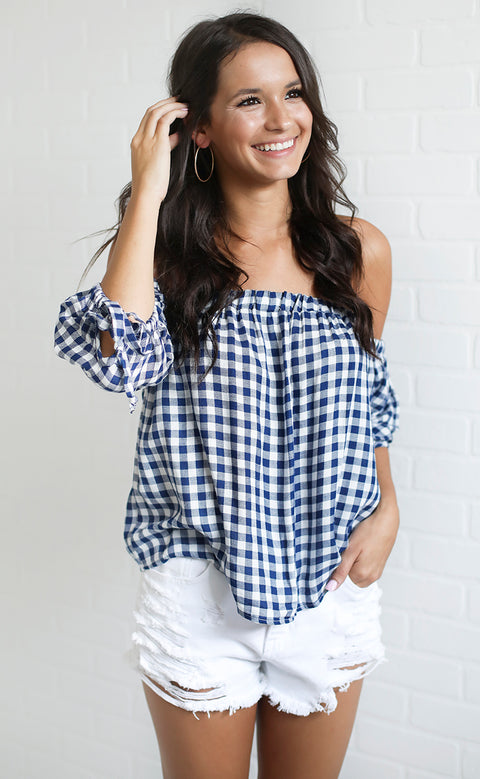squared away gingham top - navy