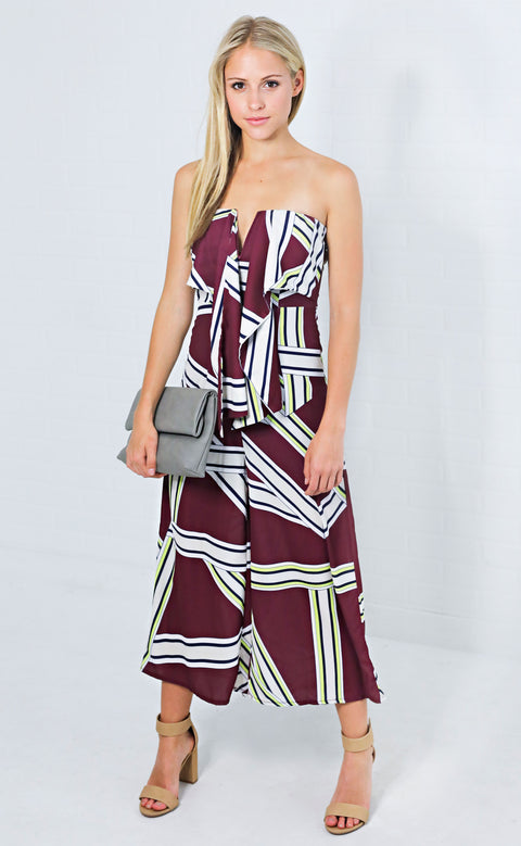 squared away strapless jumpsuit