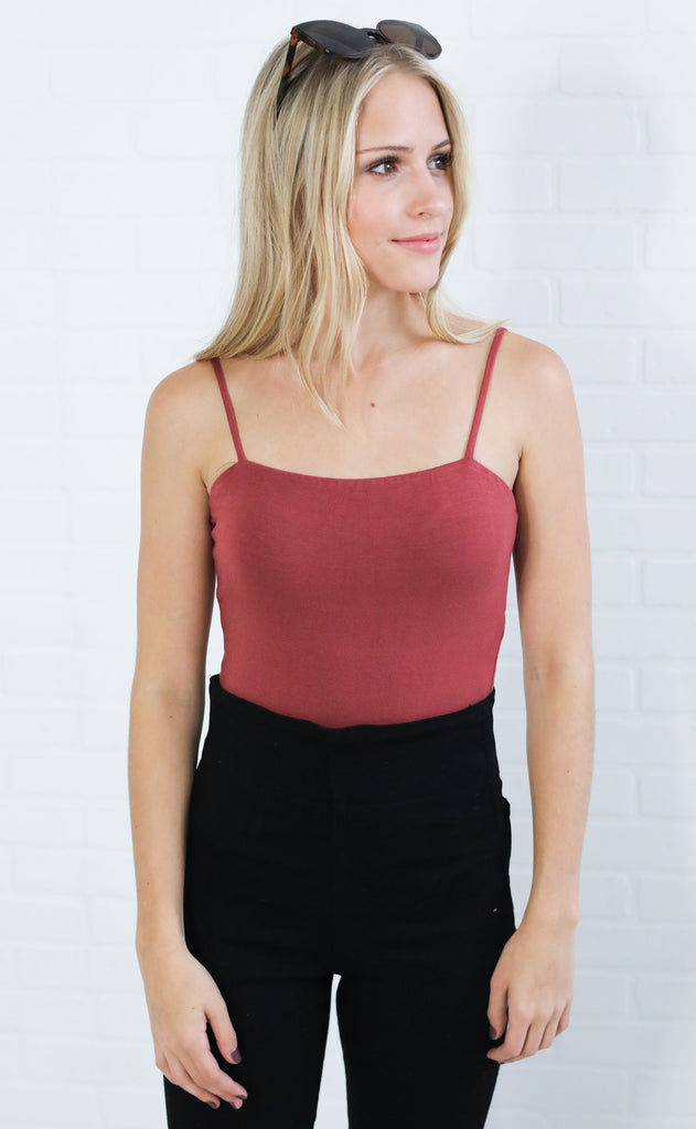 squared up basic bodysuit - brick