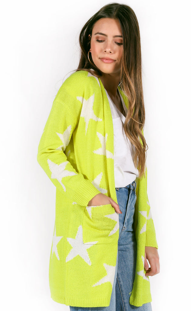 star quality knit cardigan - neon yellow