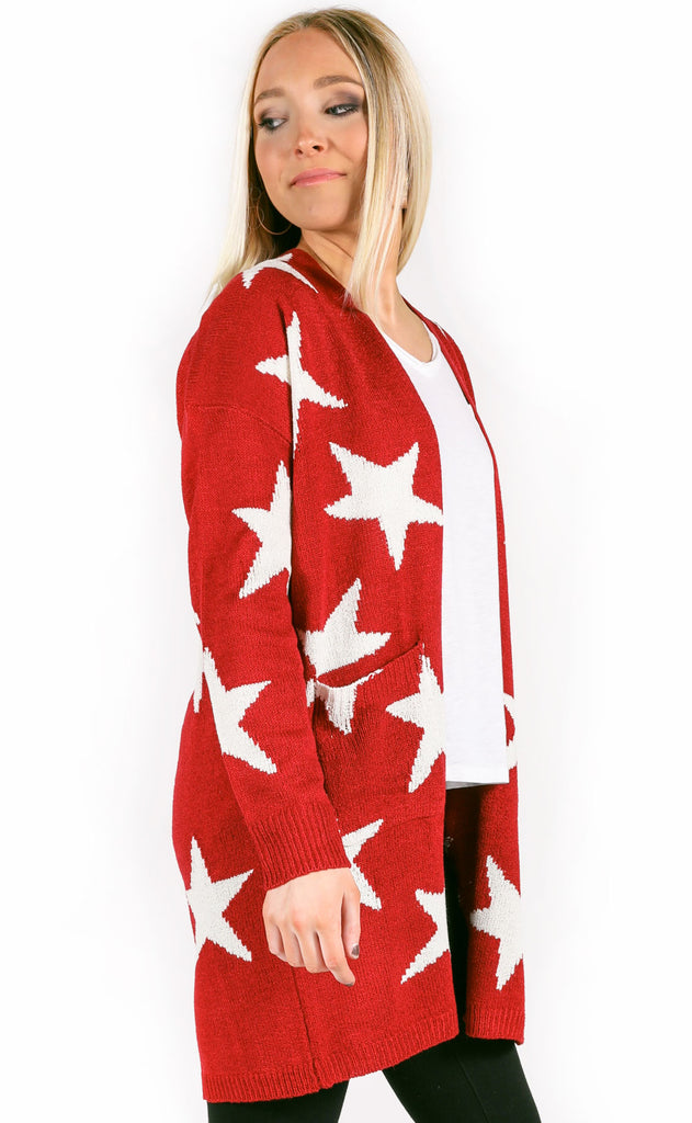 star quality knit cardigan - red