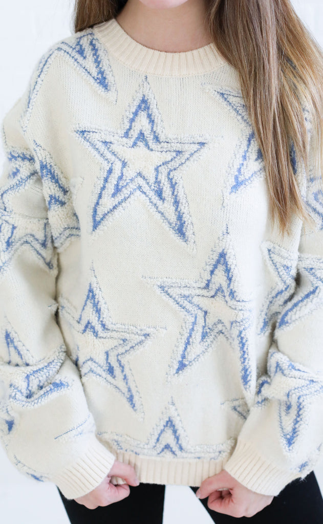 starry eyed knit sweater - blue