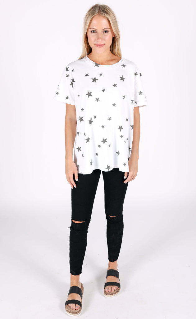 star struck printed top - ivory
