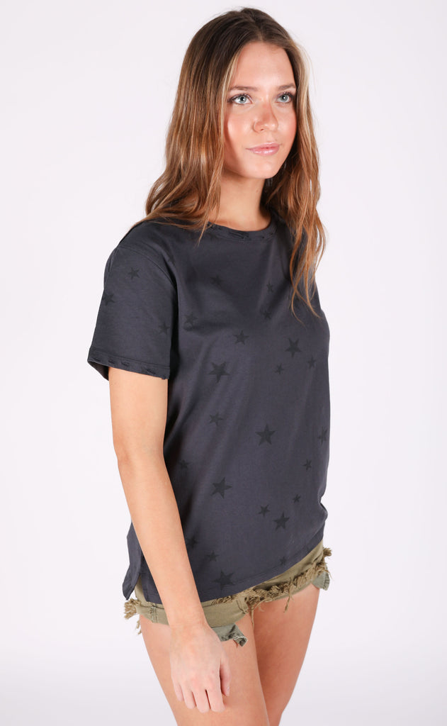 star struck printed top - charcoal
