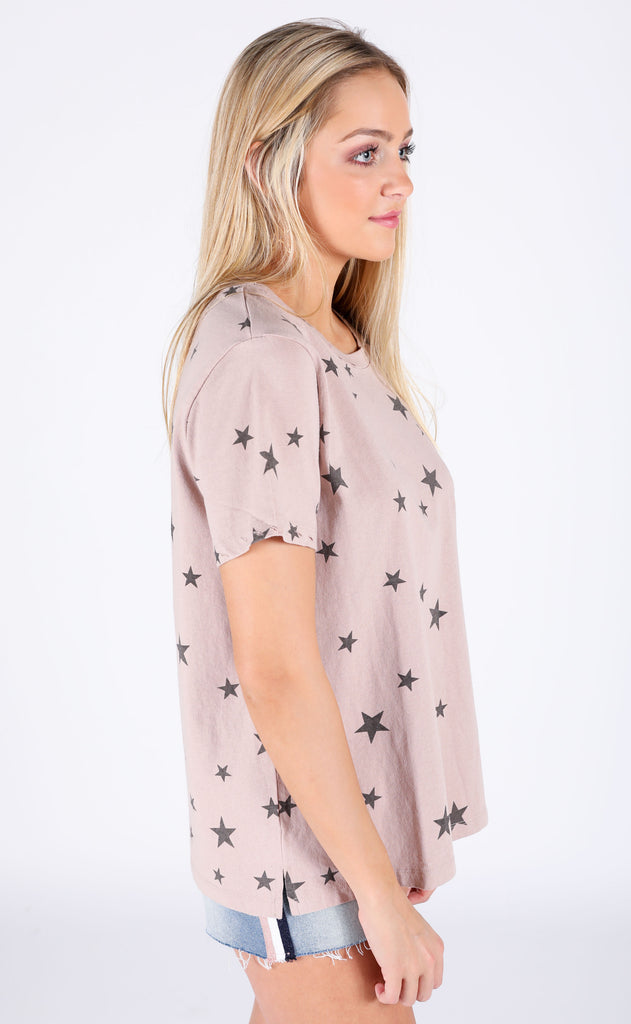 star struck printed top - mocha