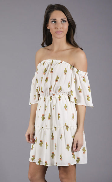 stay sharp off shoulder dress - ivory
