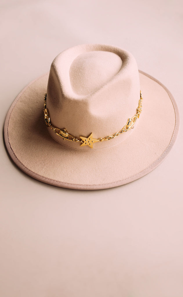 eastnwestlabel: stella chain hat - nude