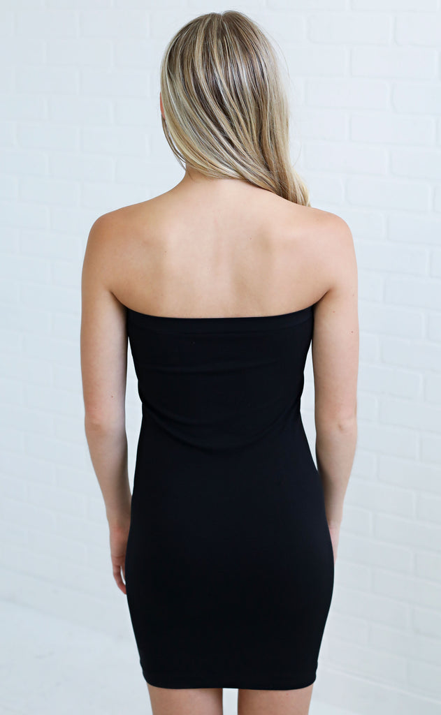 strapless slip dress - black
