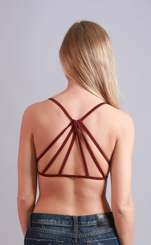 simple strappy bralette - burgundy