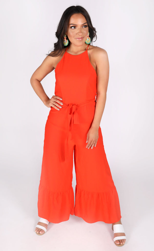 strawberry wine ruffle jumpsuit