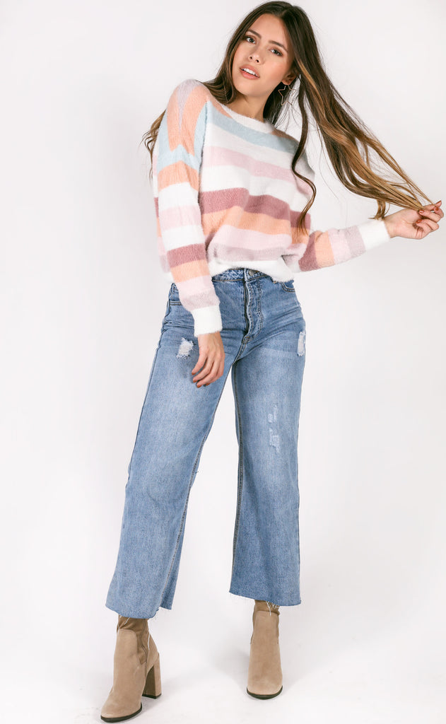 stripe back at you knit sweater