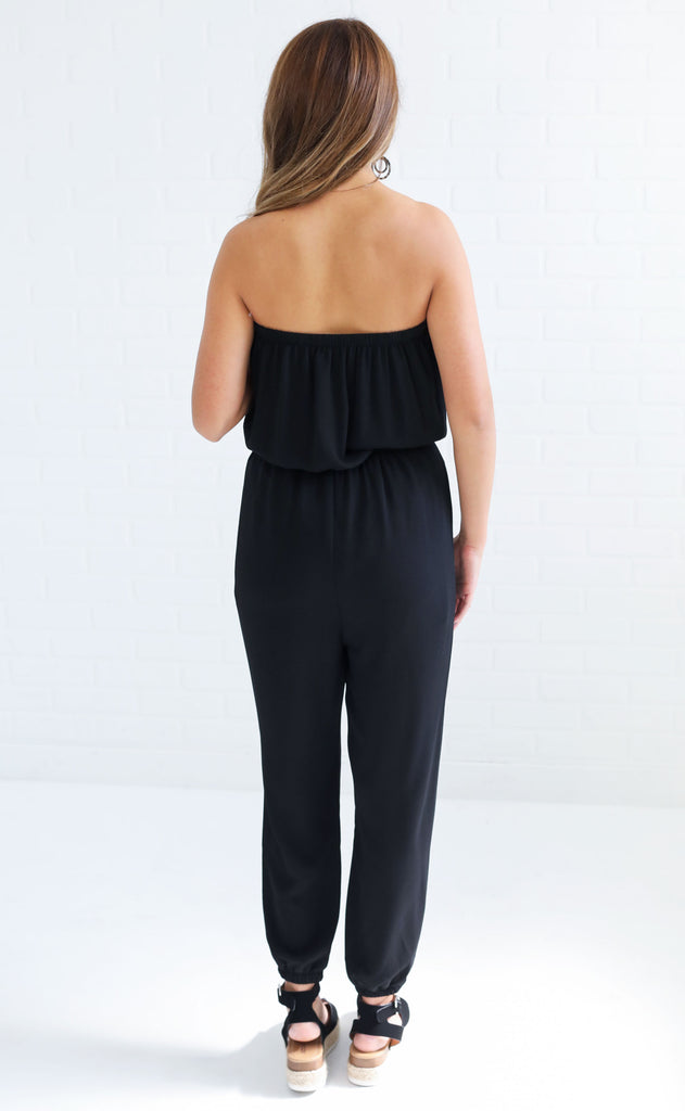 jump to it strapless jumpsuit