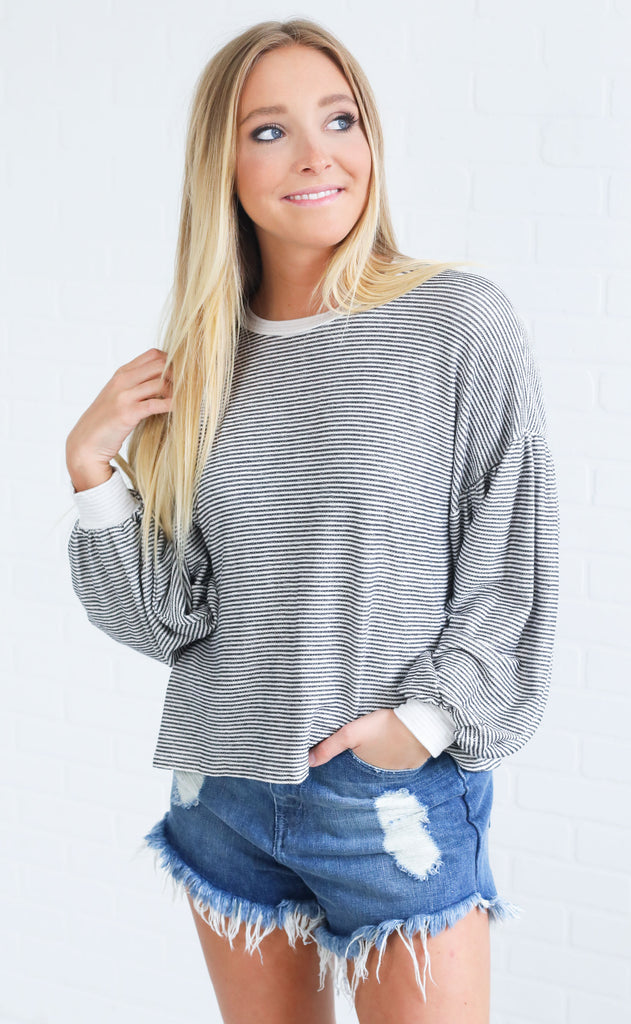 stripe moves knit top