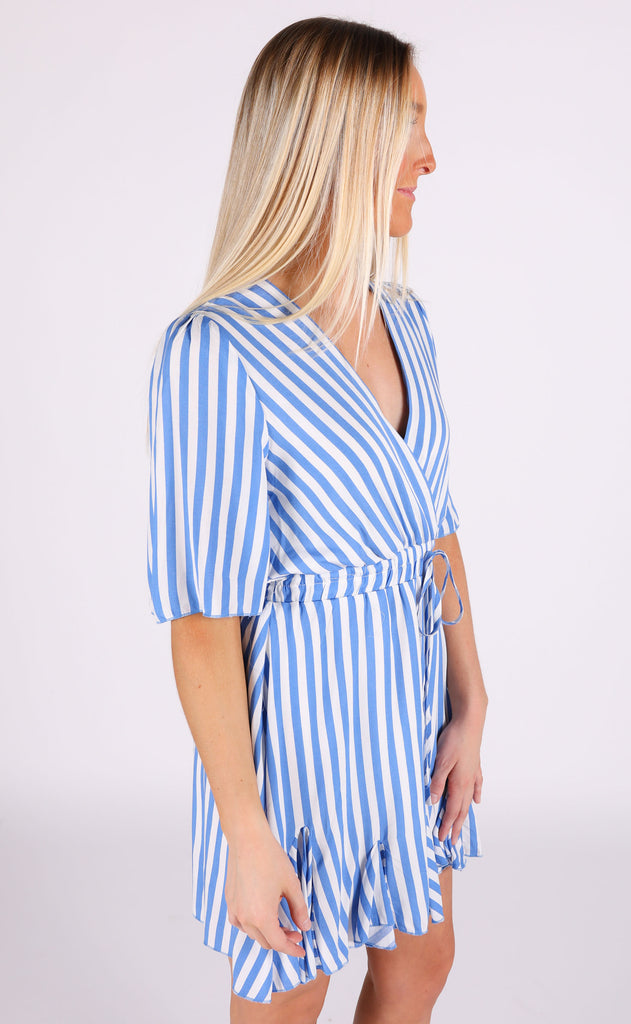 stripe one wrap dress