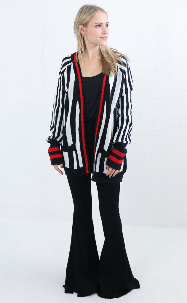 stripe out knit cardigan