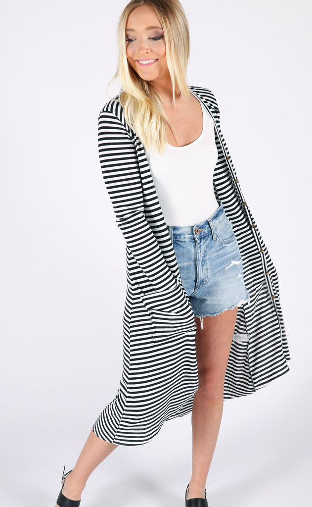 stripe right button up cardigan